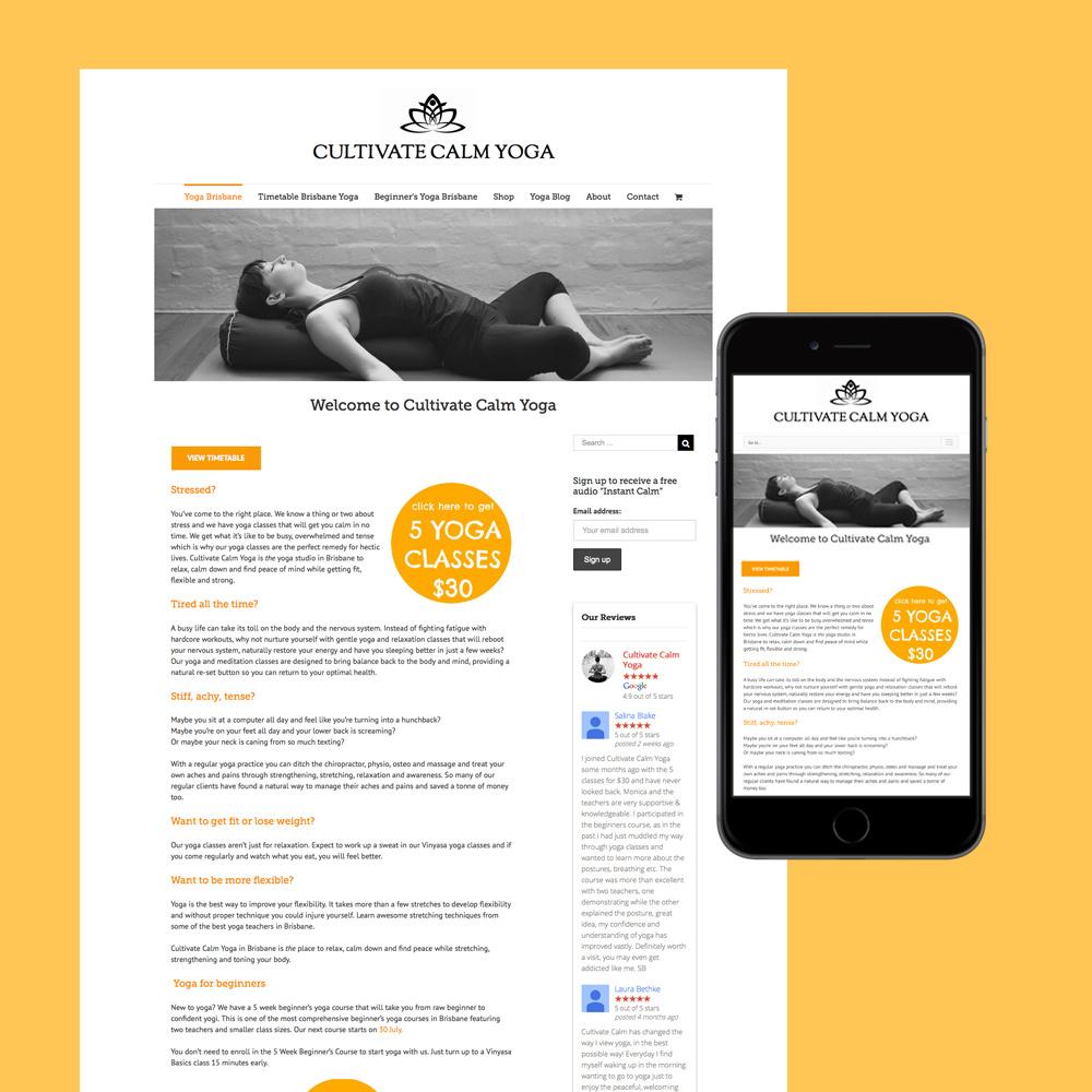 cultivate calm yoga studio website design