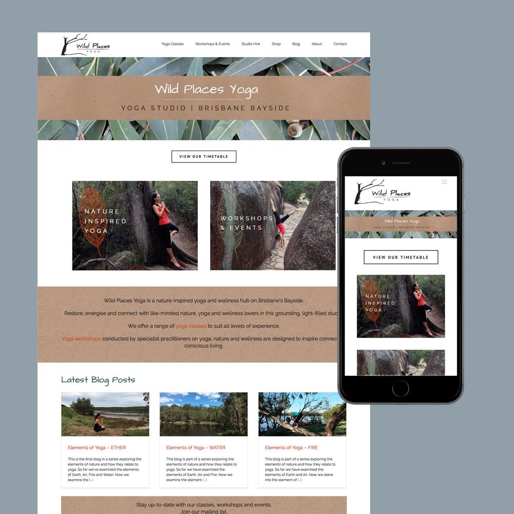 wild places yoga studio website design