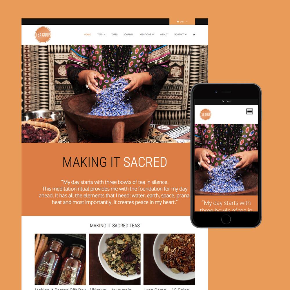 tea coup shop website design