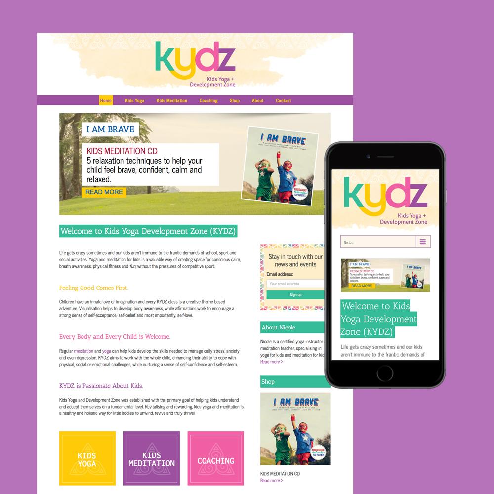 kids yoga website design